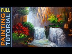 HOW TO PAINT Water falls and Autumn Trees | Acrylic Painting Tutorial | 41 FULL TUTORIAL - YouTube