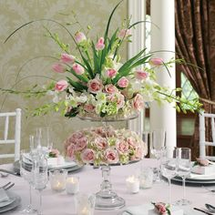 Pink and Green modern romantic centerpiece idea by Bella by Sara