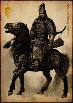 Under the eternal blue sky 9 by Ganbat.B - samurai Under the eternal blue sky 9 ganbat.b bitrix neper horseman - Art of Fantasy Fantasy Warrior, Fantasy Art, Tattoo Guerreiro, Sky 9, Genghis Khan, Landsknecht, Middle Ages, Vikings, Character Art