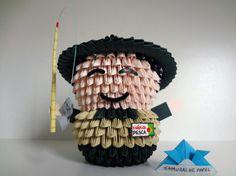 Origami 3D - Pescador 3d Origami, Origami Modular, Origami Ideas, Samurai, Quilling Art, Paper Folding, Wood Art, Fun Crafts, Cute
