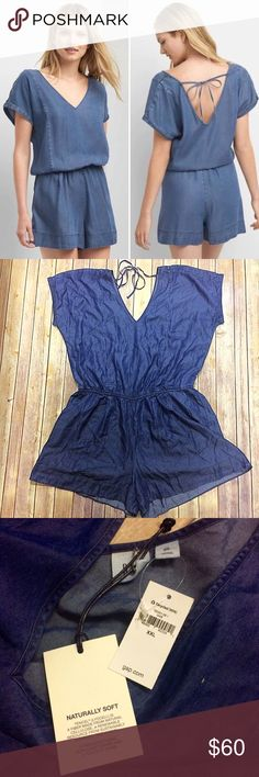"""GAP Tencel V-Neck Indigo Open Back Romper This product is made with TENCEL (Lyocell), a sustainable fiber made from wood pulp.   Size: US Womens XXL 20/22 Style: #720001 Lined: No Zipper: No Features: Smooth twill weave, short roll sleeves, v-neck, cross shoulder ties at V-back, shirring at elasticized waist, front slant pockets.  Measurements from website: Bust: 45.75"""" - 47.75"""" approx Waist: 39.5"""" - 41.5"""" approx Inseam: 3"""" approx Fit style: Straight silhouette with a cinched waist, relaxed…"""