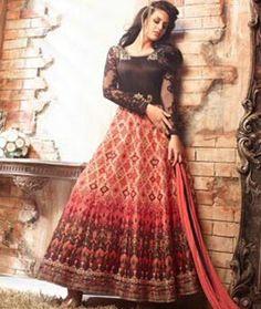 Buy Orange Satin Ankle Length Anarkali Suit 73548 online at lowest price from huge collection of salwar kameez at…