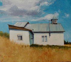 SOLD I White Church I 7x8 I Dix Baines I Fine Artist Original Oil Paintings I Southwest Churches I Southwest Paintings I www.dixbaines.com