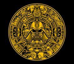 Star Wars Aztec Calendar T-Shirt Mens Medium Darth Vader Leia Yoda TeeFury Star Wars Fan Art, Star Wars Film, Star Wars Poster, Star Wars Pictures, Star Wars Images, Vader Star Wars, Darth Vader, Cuadros Star Wars, Aztec Calendar