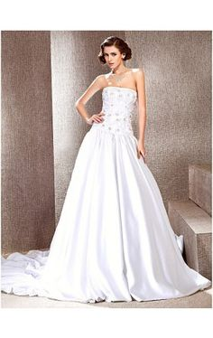 A-line Strapless Cathedral Train Satin Wedding Dress