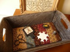 Cute idea for the bottom of an antique wooden tray......love it.  Have done this for baskets but not for wood.