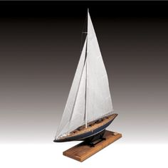 """Elegant Detailed Wooden Model Ship Kit by Amati: """"Endeavour J Class"""" Model Ship Kits, Model Ships, Mahogany Decking, Wooden Display Stand, Wooden Sailboat, House Deck, Hobby Shop, Brass Fittings, Metal Casting"""