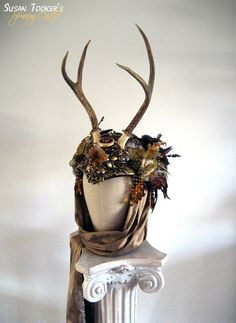 Antler Headdress Celtic Ritual Crown Fairy by SpinningCastle