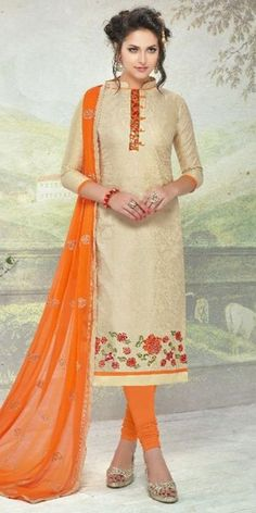 Majestic Beige Cotton Straight Suit With Dupatta.