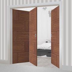 Thrufold Ravenna Walnut Flush 2+1 Folding Door - Prefinished - Lifestyle Image - #wlanut #homedesign #foldingdoors