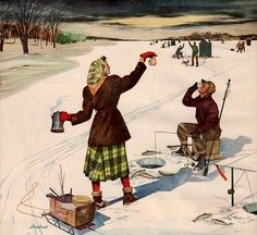 vintage ice fishing 1948 advertisement coffee by FrenchFrouFrou, $14.95