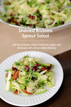 thanksgiving eats: shaved brussels sprouts salad with spiced pecans, dried cranberries, apples, and parmesan with a brown butter dressing #thanksgiving #theeverygirl