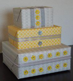 DIY tutorial: grey and yellow wedding card gift box