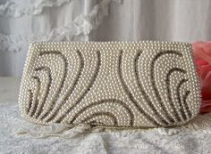 Vintage Pearl Beaded Clutch Cocktail Purse Bridal by CynthiasAttic