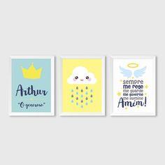 "Trio de Quadros ""Coroa, Chuva e Anjo"""