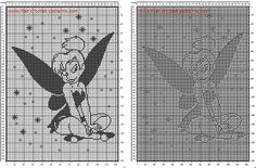 Free filet crochet pattern baby blanket with Disney Tinkerbell sitting 120 x 170 squares