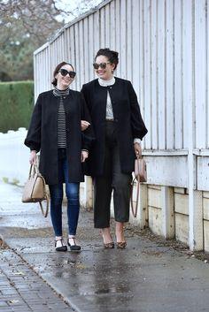 Girl With Curves blogger Tanesha Awasthi and her sister Jazmen Ferguson wearing Asos collarless coats.