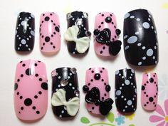 Pink Black Ribbon Nails | MiCHi MALL
