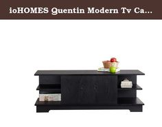 ioHOMES Quentin Modern Tv Cabinet, Black. Add a touch of modern versatility to your home decor with this Quentin Unique TV Cabinet in Black Finish. Contemporary TV console accentuates your furnishings with six large compartments for all your media components storage. Two front sliding doors can slide from left to right. Product is made of medium fiber board materials. To clean, use damp cotton cloth to wipe clean. Assembly required. Product Made in Taiwan. Once assembled, product measures...