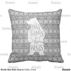 Nordic Bear Knit, Grey Throw Pillow