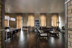 para mi Loft aregon estancia, grandes paredes ladrillo con grandes ventanales