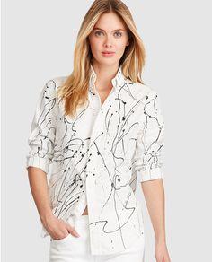 Camisa de mujer Polo Ralph Lauren en blanco con manchas de pintura Polos 6b0b8a5b73d94