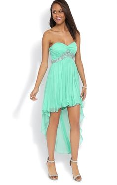 Debs Green High Low Prom Dress