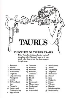 checklist of taurus traits