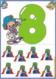 Numerais de Parede Patati Patatá 0 a 10 Clown Crafts, Book Background, Preschool Education, Math Numbers, Dora The Explorer, Pre Writing, Ms Gs, Early Childhood Education, Math Activities
