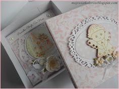 Mój świat kolorów...: Kartka w pudełku na Chrzest Św...