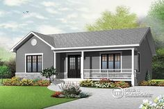 Discover the plan 3136 - Clarendon from the Drummond House Plans house collection. Traditional ranch style bungalow plan, ideal starter home, open living concept with patio door, large shower. Total living area of 1103 sqft. House Plans One Story, Ranch House Plans, New House Plans, Small House Plans, Drummond House Plans, Shed Plans, Garage Plans, Cabin Plans, Car Garage