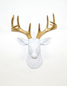 The MINI Alfred   Stag Deer Head   Faux Taxidermy   White w/ Gold Antlers...I want this