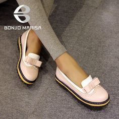 Hot Sale The New Spring and Summer 2015 British Crude With Bow Shallow Mouth College Retro Carved Women Shoes
