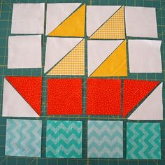 Sail Boat Block {Tutorial} – Famous Last Words Quilt Baby, Baby Boy Quilt Patterns, Quilt Block Patterns, Quilt Blocks, Pattern Blocks, Big Block Quilts, Quilting Tutorials, Quilting Projects, Quilting Designs