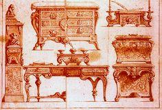 andré charles boulle (1642-1732), ébéniste du roi; Planche 3 des Nouveaux Deisseins, vers 1720-30. Sanguine HT 22,6 cm, larg 30,3 cm,Paris, musée des Arts décoratifs