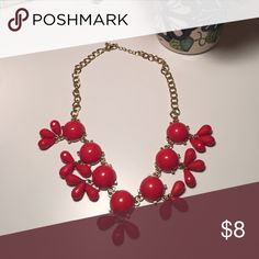 Red Statement Necklace Gently worn red statement necklace with gold chain. Jewelry Necklaces