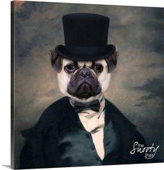 PET PORTRAIT Top Hat Custom Dog Portrait. by CustomPetPrints