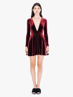 Velvet Long Sleeve Deep V Skater Dress
