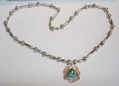 STERLING SILVER TURQUOISE SOUTHWEST 26 INCH NECKLACE N169-A
