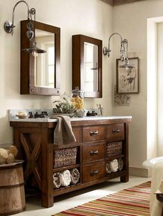 nice Benchwright Double Sink Console - Rustic Mahogany finish