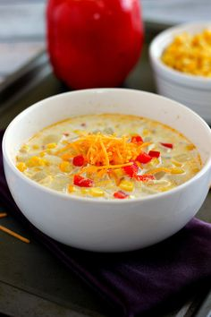 This Creamy Corn Chowder is hearty, thick, and full of veggies.