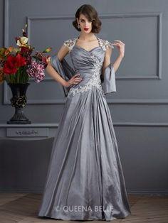 A-Line/Princess Sweetheart Short Sleeves Applique Beading Taffeta Floor-Length Dresses - Evening Dresses - Occasion Dresses - QueenaBelle.com