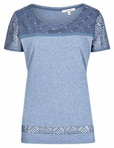 Chambray Pure Cotton Embroidered Yoke T-Shirt