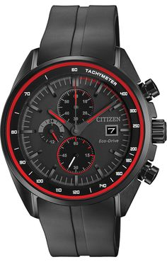 Shop for Citizen Men's Drive - HTM Collection Black Stainless Steel and Polyurethane Watch. Get free delivery On EVERYTHING* Overstock - Your Online Watches Store! All Black Watches, Cool Watches, Watches For Men, Red Watches, Stylish Watches, Luxury Watches, Citizen Eco, Watch Companies, Red Accents