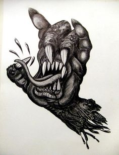 Creeping Hand - Black colored pencil on paper