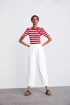 ZARA - Female - Striped top with balloon sleeves - White / red - S Zara Tops, Balloon Pants, Balloon Sleeves, White Balloons, Pants Outfit, Summer Wardrobe, Fall Outfits, Female, My Style