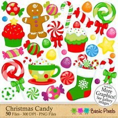 Christmas Candy Clipart - Digital Clip Art - Christmas Elements - Personal and commercial use Christmas Candy, Christmas Time, Christmas Crafts, Xmas, Candy Clipart, Project Yourself, Make It Yourself, Bottle Cap Images, Christmas Clipart