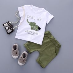 Nice 2017New Summer baby sets boys girls clothes short Sleeve T-shirt cotton shorts with Animal print children clothing set suit - $23.97 - Buy it Now! Boys Summer Outfits, Baby Boy Outfits, Spring Outfits, Outfits Niños, Kids Outfits, Cute Teen Outfits, Cute Outfits For School, Cute Winter Outfits, College Outfits