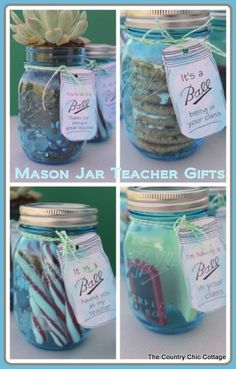 Mason jar teacher appreciation gift ideas from @Angie Wimberly Countrychiccottage