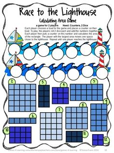Calculating area game from End of Year Math Games Third Grade by Games 4 Learning  -  14 printable games that review a variety of third grade skills. $